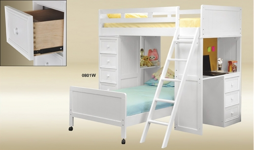 Twin Loft Bed W/ Chest U0026 Desk
