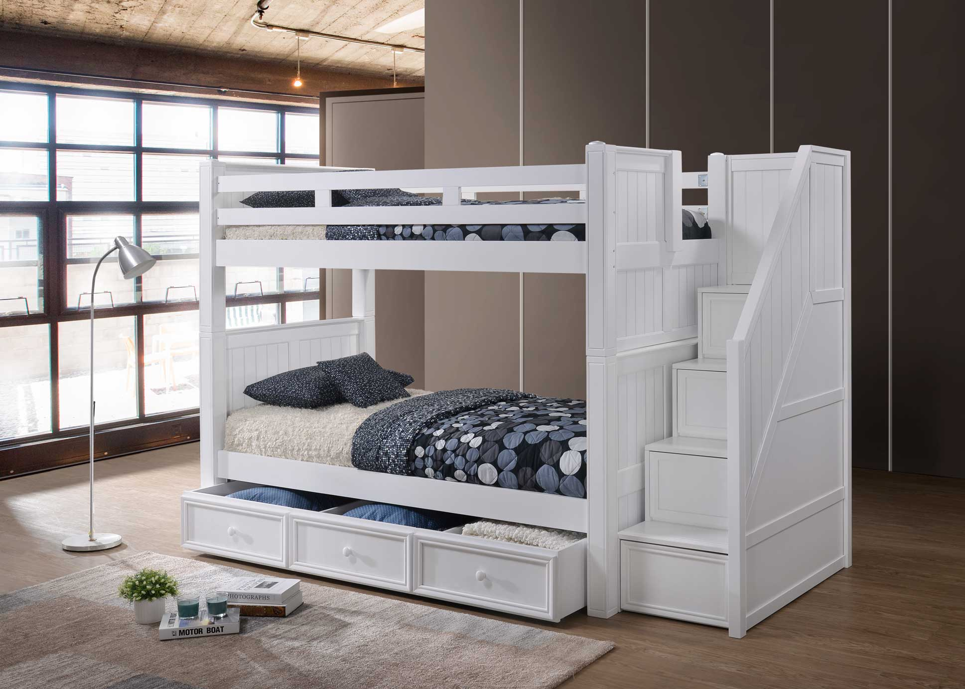 Twin Twin Bunk Bed With Step Drawers J A Y Furniture Co